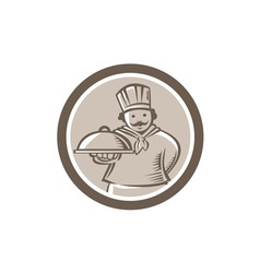 Chef Cook Serving Food Platter Circle vector image vector image