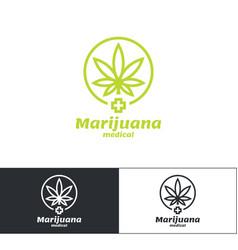 marijuana medical logo vector image vector image