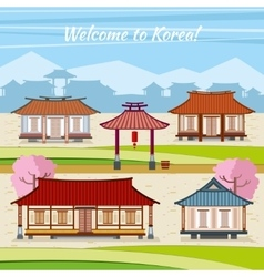Old Korean town with traditional houses vector image
