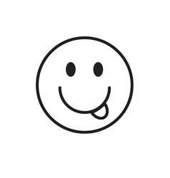 smiling cartoon face show tongue positive people vector image