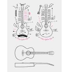 Trendy Retro Vintage Insignias with Guitar vector image vector image