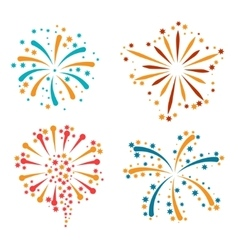 Set of abstract colorful fireworks and salute vector image vector image