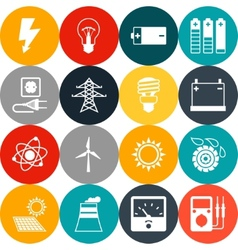 Set of industry power icons in flat design style vector image