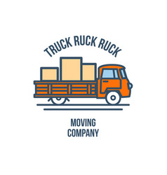 truck with cargo moving company logo vector image vector image