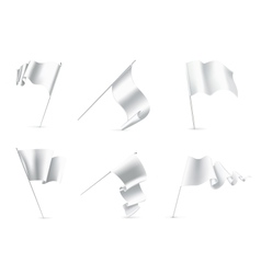 White Flags set vector image vector image
