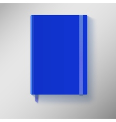 Blue copybook with elastic band and bookmark vector image vector image