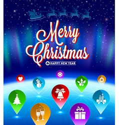 Christmas map pointers with flat icons vector image