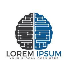 circuit brain logo vector image vector image