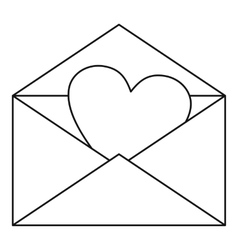 Envelope with valentine heart icon outline style vector image vector image