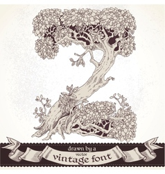 Fable forest hand drawn by a vintage font - Z vector image
