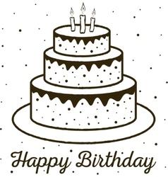 Happy Birthday greeting card birthday cake vector image