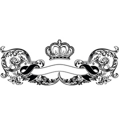 One Color Royal Crown Vintage Curves Banner vector image