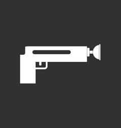 White icon on black background kids gun vector