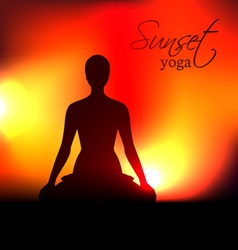 Yoga woman silhouette at sunset vector image vector image