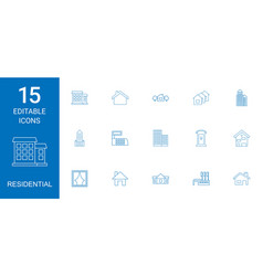 15 residential icons vector image