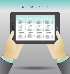 2017 Calendar with Pad and Hands vector image