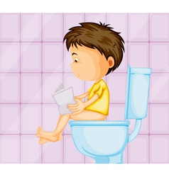 A boy sitting on commode vector