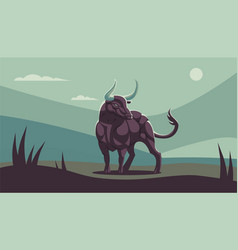 A muscular bull with large horns vector