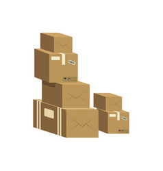 a pile closed brown cardboard boxes vector image