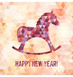 Abstract triangles horse new year card vector image vector image