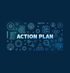 Action plan horizontal blue outline banner on dark vector