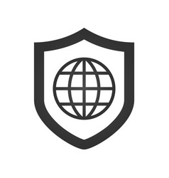 ashield icon with a world globe vector image