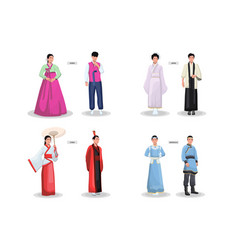 Asian traditional costumes set vector