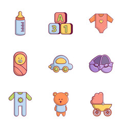 baby icons set flat style vector image