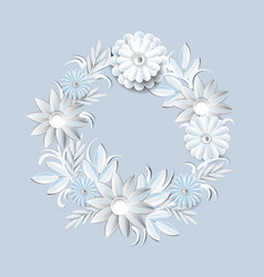 Beautiful white flowers wreath isolated on grey vector