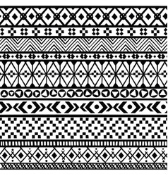 black ethnic borders seamless ornaments mexican vector image