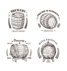 brewery emblem barrel beer and wine whiskey vector image