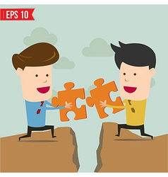 Businessman assembling jigsaw puzzle and represent vector