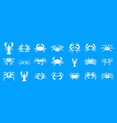 Cancer icon blue set vector