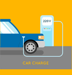 Car charging eco station vector