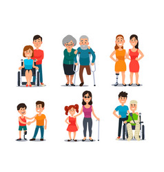 Caring disabled person handicapped people vector