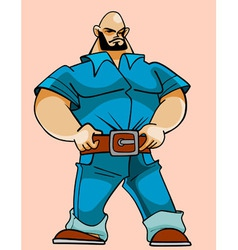 cartoon hefty strong man vector image