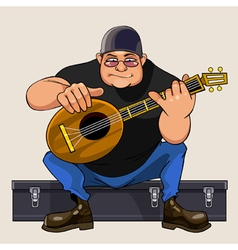 cartoon man musician performs on dombra vector image