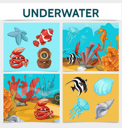 cartoon underwater life square concept vector image