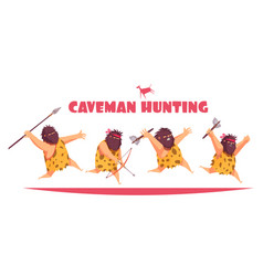 caveman hunting design concept vector image