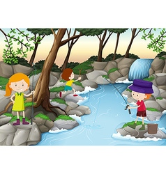 Children fishing in the river vector image