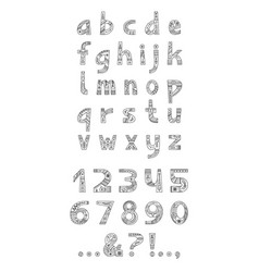 Christmas alphabet outline typeset vector