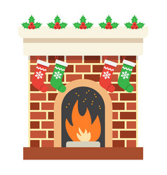 christmas fireplace flat icon new year christmas vector image