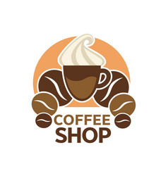coffee shop cafeteria or cafe icon vector image