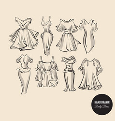 collection hand drawn woman daily dresses made vector image