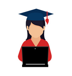 color silhouette with woman with graduation hat vector image