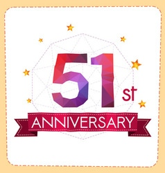 Colorful polygonal anniversary logo 2 051 vector