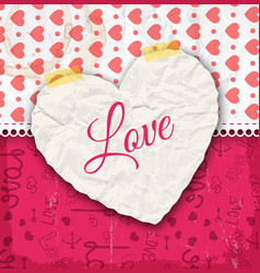 crumpled paper heart composition vector image