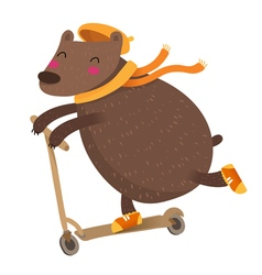Cute bear riding a scooter isolated on white vector image
