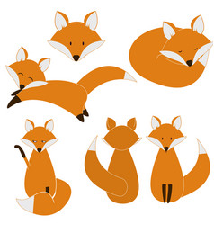 Cute fox set vector