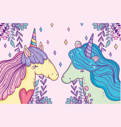 cute unicorns with heart and branches leaves vector image